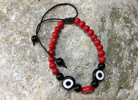 Black and Red Evil Eye Bracelet