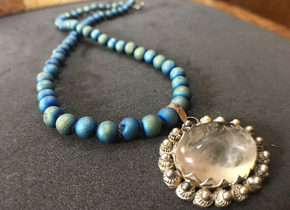 Blue Necklace with Antique Sterling Silver Pendant