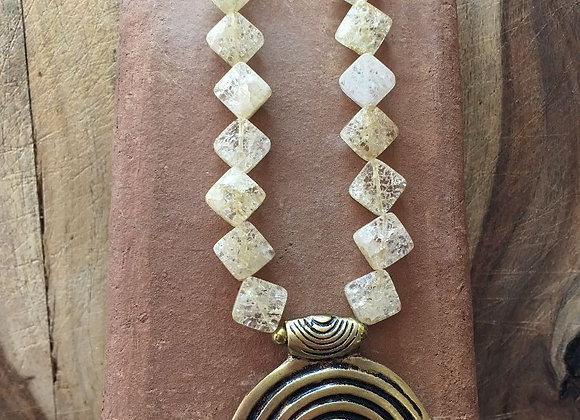 Cracked Crystal Necklace with Brass Pendant