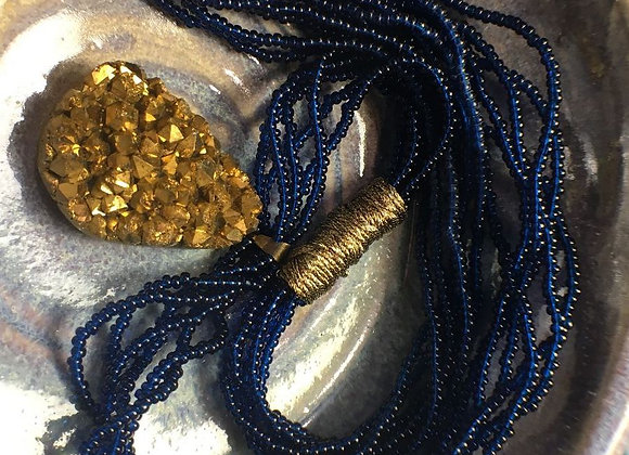 African Glass Bead Necklace with Gold Stone Pendant