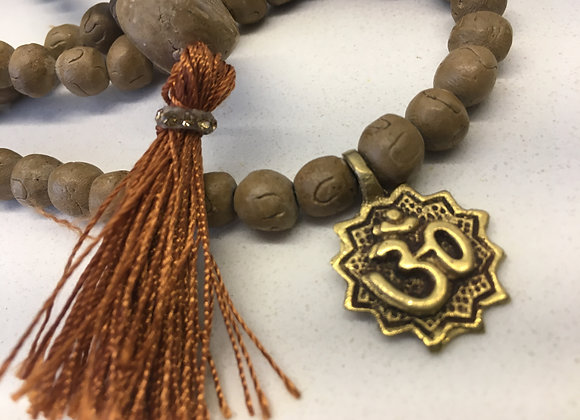 Clay Mala Necklace with Buddha Pendant