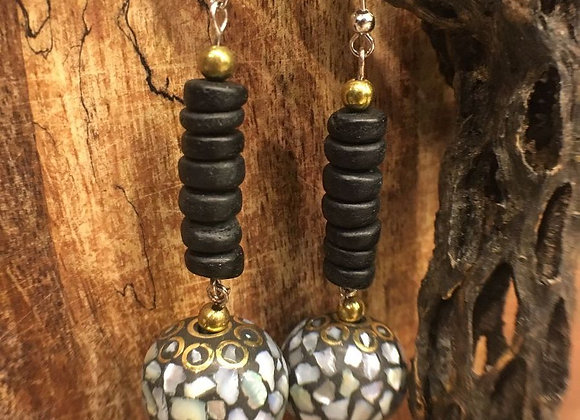 Dangling Earrings with Tibetan Sphere Drops