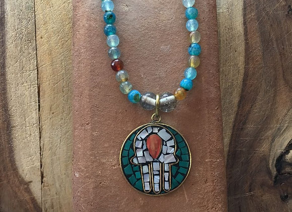 Agate Necklace with Hamsa Hand Pendant