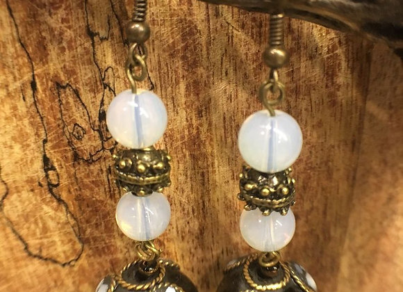Dangling Earrings with Tibetan Drops