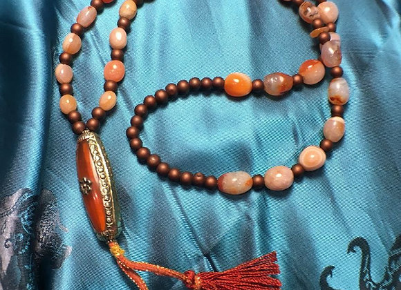 Mala style Necklace with Tibetan Pendant