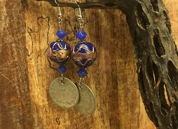 Dangling Earrings with Vintage Persian Coins