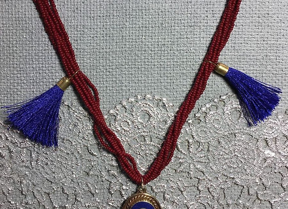 African Glass Bead Necklace with Tibetan Hamsa Pendant
