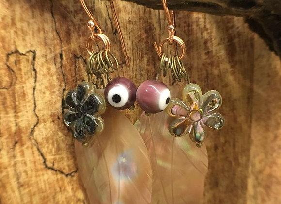 Seashell and Evil Eye Earrings