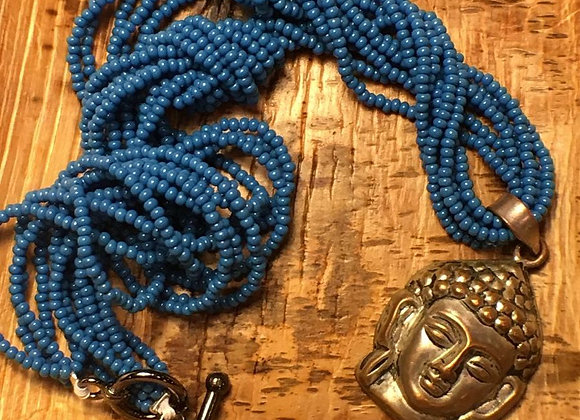 African Glass Bead Necklace with Vintage Buddha Pendant