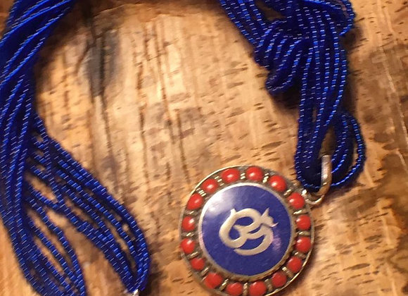 African Glass Bead Necklace with Om Sign Pendant