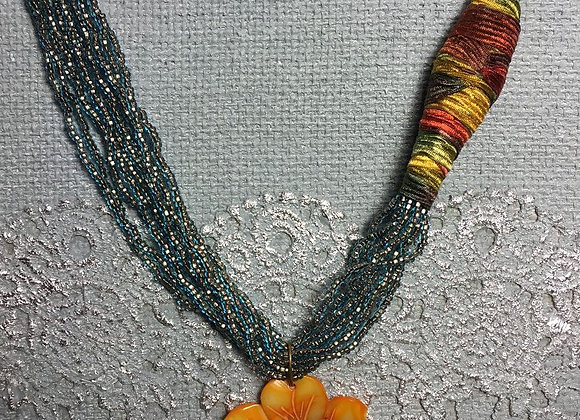 African Glass Bead Necklace with Seashell Flower Pendant