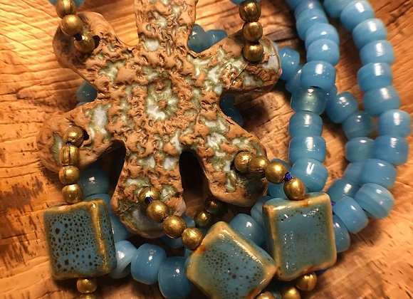 African Glass Bead Necklace with Handmade Clay Pendant