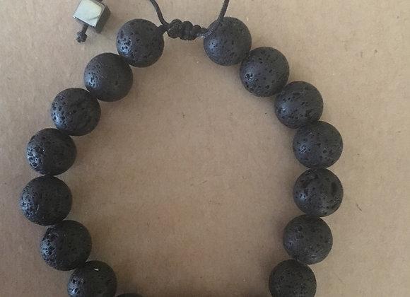 Navy Blue Volcanic Stone Men's Bracelet