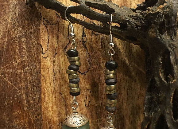 Dangling Earrings with Tibetan Aventurine Drops