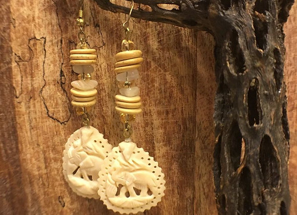 Dangling Earrings with Vintage Hand-carved Elephant Ivory Drops