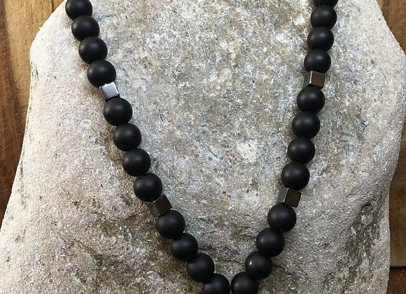 Onyx and Magnet Necklace with Heart Pendant