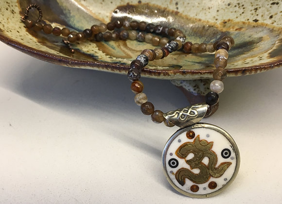 Agate Necklace with Tibetan Om Pendant