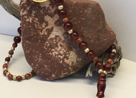 Mala style Necklace with Spiritual Pendant