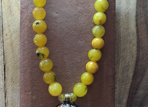 Agate Necklace with Tibetan Amber Pendant