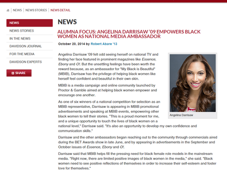 Alumna Focus: Angelina Darrisaw'09 Empowers Black Women as National Media Ambassador