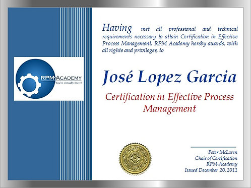 Certification-Effective Process Management