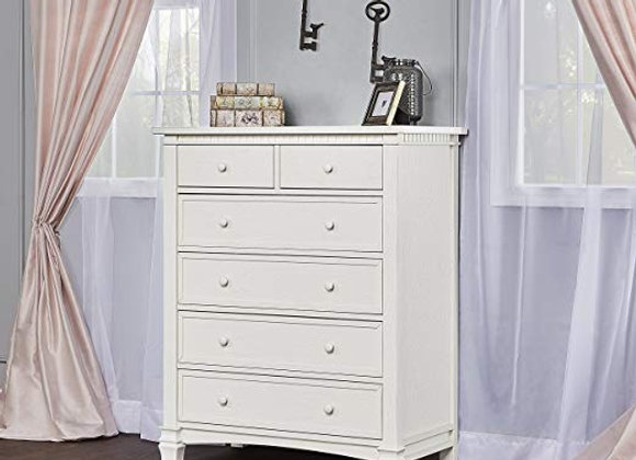 Cheyenne and Santa Fe 6 Drawer Chest Dresser in Brush White