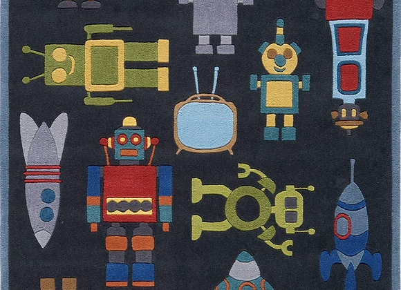 Robot Hand Carved and Tufted Kids Area Rug
