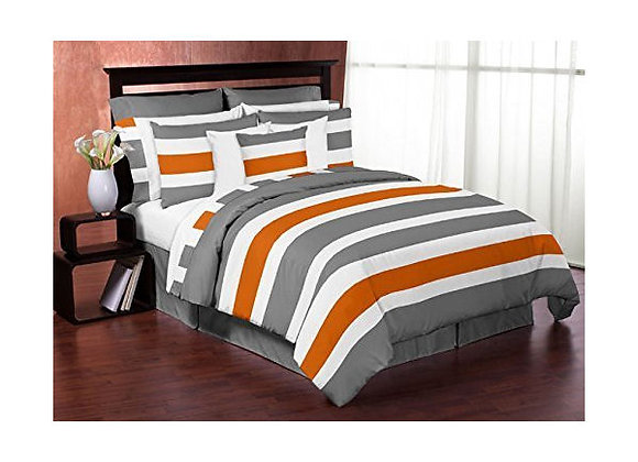 Sweet JoJo Designs Gray Orange and White Striped Striped Quilt and Sham Bedding