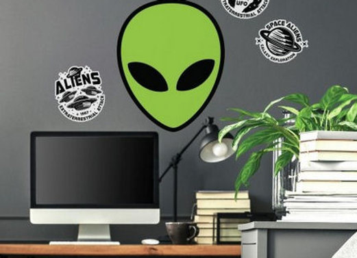 Roommates Alien Martians Peel and Stick Wall Decals