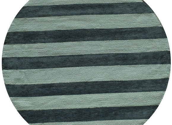 Cotton Hand Hooked Blue and White Striped Area Rug
