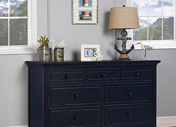 Parker 7 Drawer Double Dresser in Distressed Navy Blue