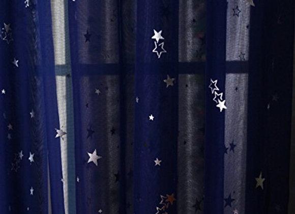 Sheer Navy Blue with Stars Pole Pocket Drape