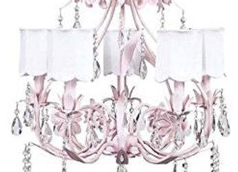 Jubilee 5 Light Ballroom Crystal Chandelier With White Silk Drum Shades