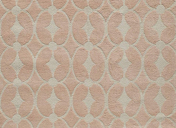 Cotton Handhooked Pink and White Diamond Area Rug