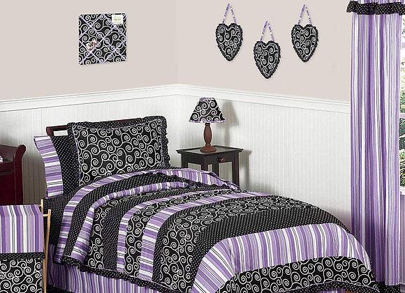 Sweet JoJo Designs Black and Purple Kaylee Quilt and Sham Bedding Set