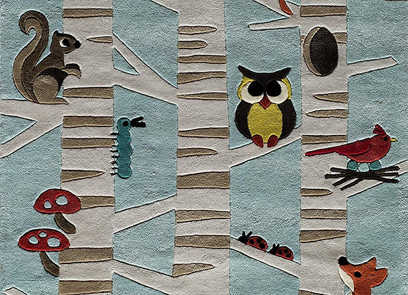 Woodland Animal Hand Tufted and Carved Kids Area Rug