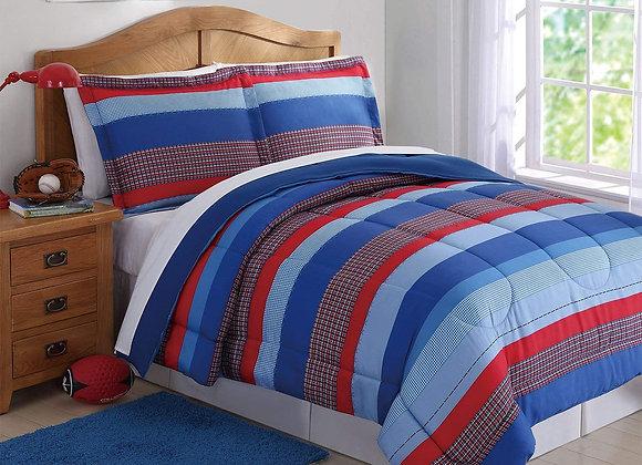 Sebastian Stripe Blue and Red Comforter Set