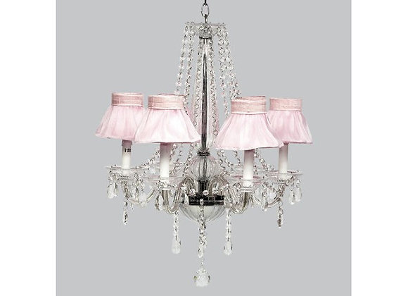 Jubilee 6 Light Middleton Glass Chandelier with Pink Ruffle Shades