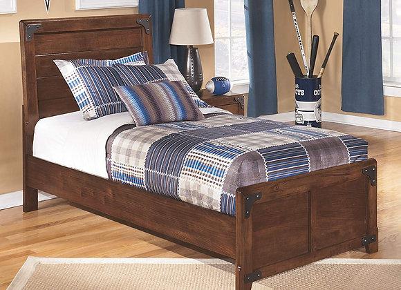Delburne Twin Panel Bed in Medium Brown