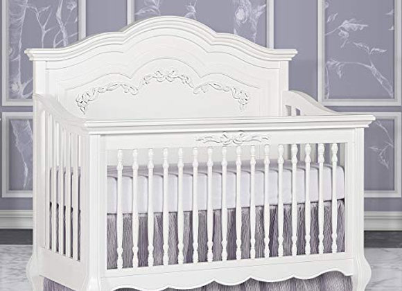 Aurora 5 in 1 Solid Wood Crib in Frost White