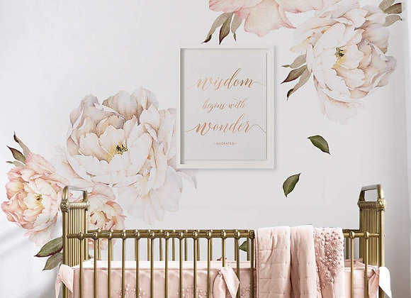 Set of 6 Giant Vintage Pink Peony Wall Decals