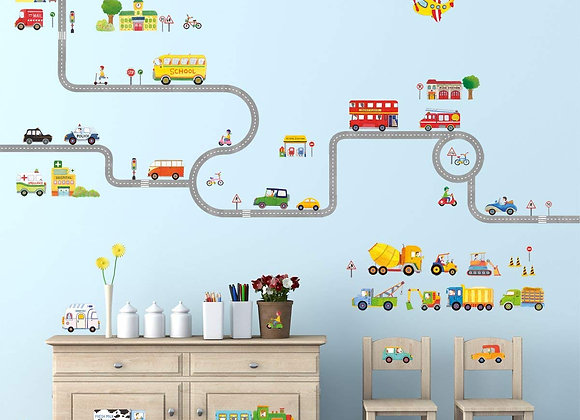 Road and Vehicle Set of Wall Decals