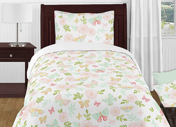 Sweet JoJo Designs Watercolor Butterfly Quilt and Sham Bedding Set