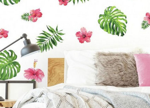 Roommates Tropical Hibiscus Peel and Stick Wall Decals
