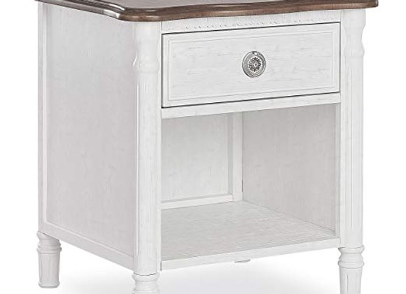 Julienne Nightstand in Toffee and Brush White