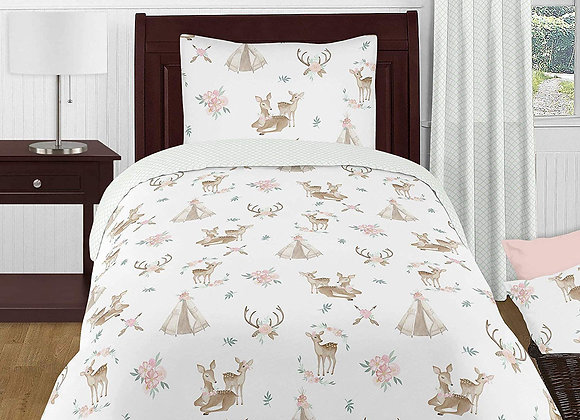 Sweet JoJo Designs Watercolor Woodland Deer Quilt and Sham Bedding Set