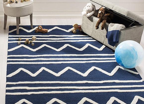 Safavieh Kids Navy Blue and White Zig Zag Wool Area Rug