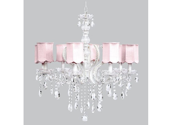 Jubilee 8 Light Pageant Crystal Chandelier with Pink Silk Shades