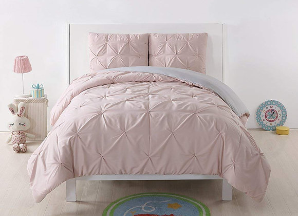 Reversible Blush Pink and Silver Gray Pleated Duvet Cover