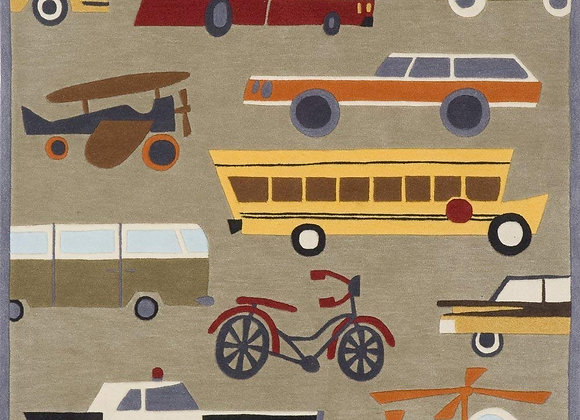 Momeni Kids Gray Transportation Hand Carved and Tufted Area Rug